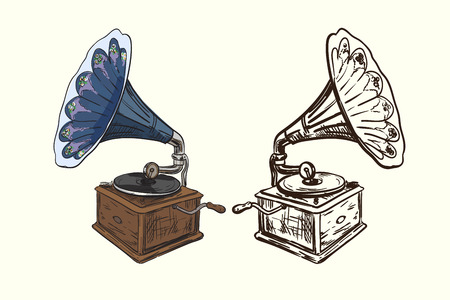 Vector illustration of gramophone or phonograph Retro musical device sketch. Classical vintage equipment.