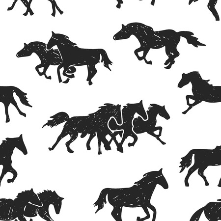 Hand drawn pattern of running horses isolated on the white background. Drawing sketch of single horse and groups of horses.