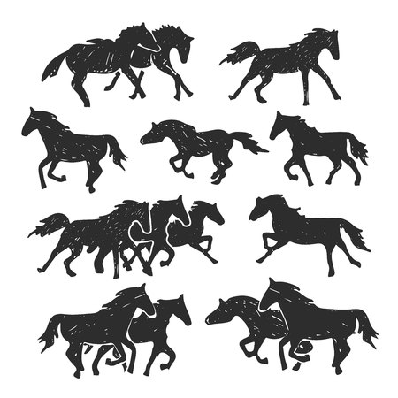 Hand drawn illustration of running horses isolated on the white background. Drawing sketch of single horse and groups of horses.
