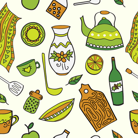 Seamless background with kitchen equipment. Cooking doodle theme. Cartoon kitchen pattern.