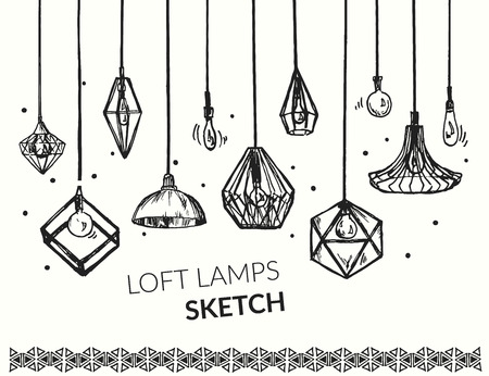 Hand drawn vector set of different geometric loft lamps. Edison lamps and modern chandeliers sketch. Lanterns collection.