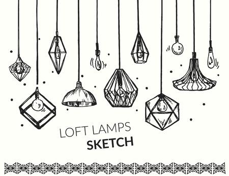 Hand getekend vector set van verschillende geometrische loft lampen. Edison lampen en moderne kroonluchters schets. Lantaarns collectie.