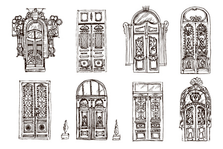 Old doors collection. Hand drawn sketch of different doors on the white background