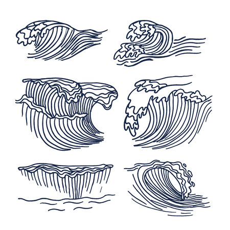Drawing sea or ocean waves. Cute sketch of big waves element isolated on the white background.