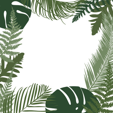 Vector tropical leaves frame with space for your text. Jungle style decorative frame with monstera and fern leaves.  イラスト・ベクター素材