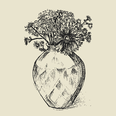 Sketch of a vase with flowers. Hand drawn floral illustration in vintage style on the old paper.