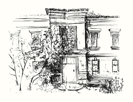Sketch of building with yard. Drawing illustration of house.  イラスト・ベクター素材