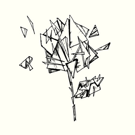 Drawing illustration of rose made with glass shards and pieces. Conceptual hand drawn illustration. Illustration