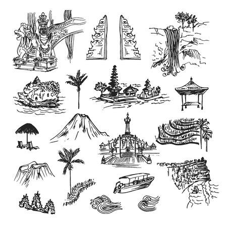 Tekening schetselementen, gebouwen en plaatsen van het eiland Bali. Unieke culturele collectie met tempels, palm, objecten en natuur. Vector Illustratie