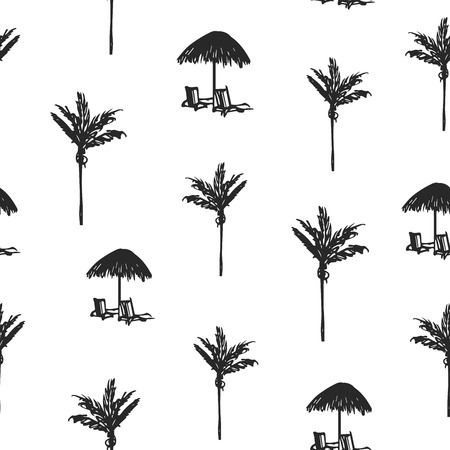 Seamless background with palms and sunbeds sketches. Beach style hand drawn pattern.