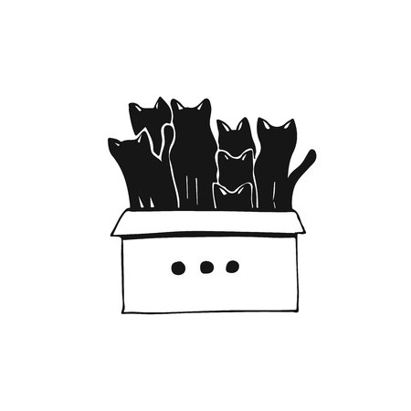 Hand drawn illustration of cats in box. Cute drawing concept with group of cats.