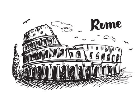 Drawing sketch of Coliseum in Rome. Hand drawn Colosseum illustration.