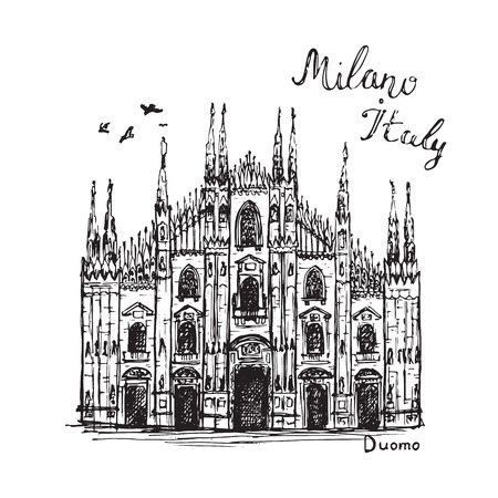 Drawing Milan Duomo cathedral. Hand drawn sketch of church  イラスト・ベクター素材