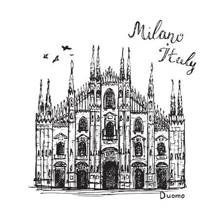 Drawing Milan Duomo cathedral. Hand drawn sketch of church Illustration