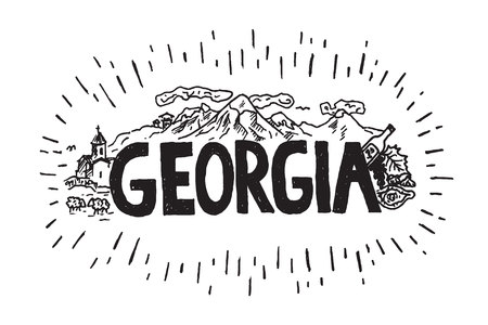 Hand drawn illustration of Georgia country with mountains, church, wine, khachapuri. Georgia drawing travel sketch with name.  イラスト・ベクター素材