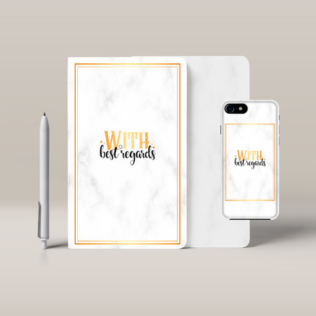 With best regards. christmas branding phone case, notepad, card