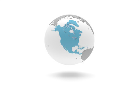 mainland: Highly detailed 3D planet Earth globe with grey continents in relief and white oceans, centered in blue full North America Stock Photo