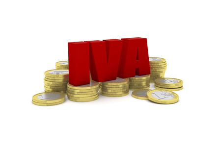 obligation: Highly detailed 3D render illustration of several one euro coin stacks with the word IVA (VAT) in Spanish on three of them