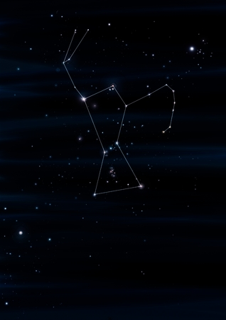 gaia: Orion constellation drawing on its real sky location Stock Photo