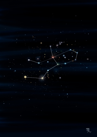 zodiacal symbol: Virgo constellation drawing on its real sky location Stock Photo