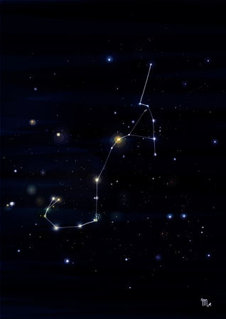 orion: Scorpion constellation drawing on its real sky location