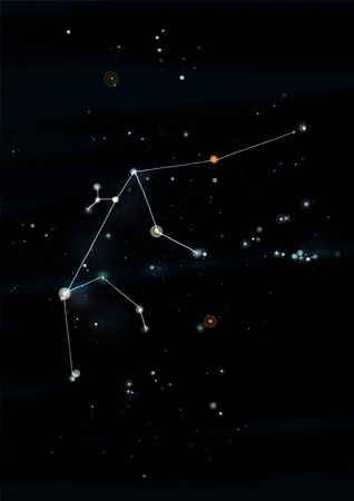 water carrier: Aquarius constellation drawing on its real sky location