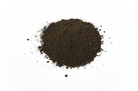 humus soil: High Angle Close Up Detail of a Pile of Worm Humus Soil Isolated on White Background