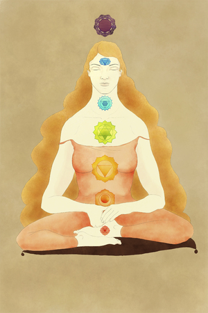 superposition: Drawing of a woman sitting on a cushion doing meditation with colorful chakras superposition