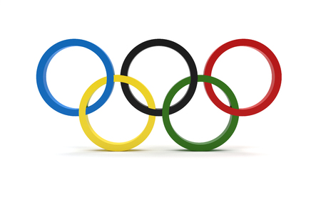 RIO DE JANEIRO, BRAZIL - AUGUST, 05, 2016: 3D Rendering of the Olympic Rings Composition Isolated on White Background Imagens - 60954765