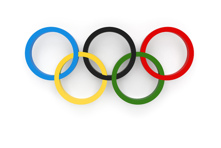 RIO DE JANEIRO, BRAZIL - AUGUST, 05, 2016: 3D Rendering of the Olympic Rings Composition Isolated on White Background