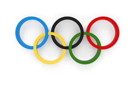 RIO DE JANEIRO, BRAZILIË - AUGUSTUS 05, 2016: Het 3D teruggeven van de Olympische Ringen samenstelling geïsoleerd op een witte achtergrond Stockfoto - 60954766