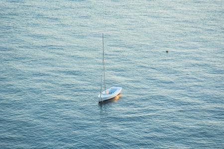 Small Vessel, without Sail on Mast- La Manga, Mar Menor Side, Cabo de Palos, Cartagena and San Javier, Murcia, Spain, Europe
