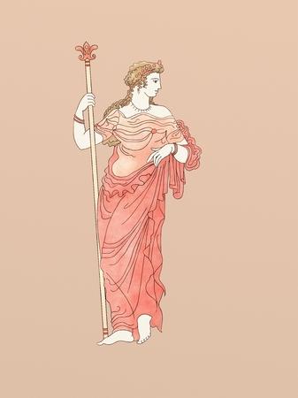 古代ギリシャ陶器類とセラミック赤図図面に基づいて、笏とデメテル
