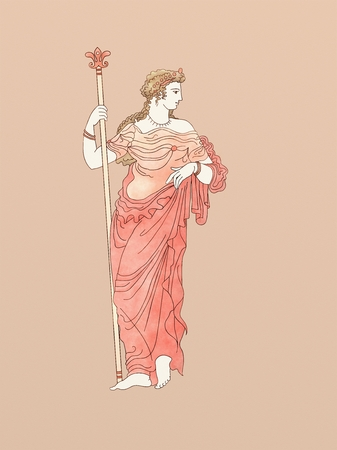 Demeter with scepter, based on ancient greek pottery and ceramics red-figure drawings