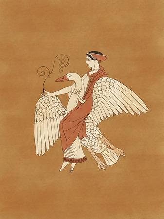 aphrodite: Afrodita montar un ganso que sostiene una planta, sobre la base de cerámica antigua griega y la cerámica de figuras rojas