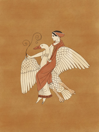 greek pottery: Aphrodite riding a goose holding a plant, based on ancient greek pottery and ceramics red-figure Stock Photo