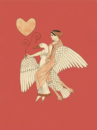 aphrodite: Afrodita montar un ganso que sostiene una planta y el corazón, sobre la base de cerámica antigua griega y la cerámica de figuras rojas