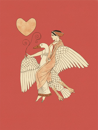 Aphrodite riding a goose holding a plant and heart, based on ancient greek pottery and ceramics red-figure