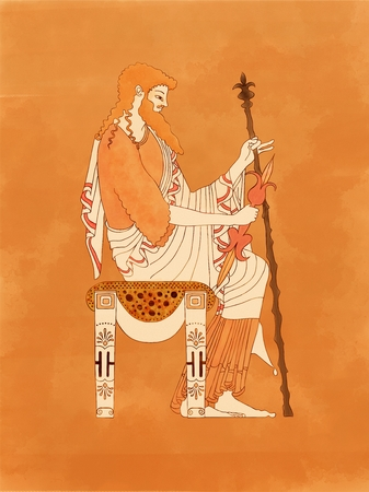 Zeus seated with sceptre and thunderbolt, based on ancient greek pottery and ceramics red-figure drawings