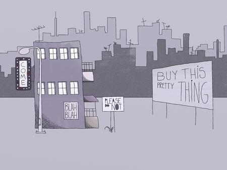 naif: Naif Style Drawing of Urban Signs and Advertisement Concept Stock Photo