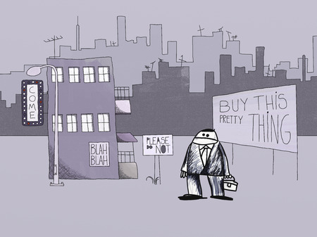 naif: Naif Style Drawing of Urban Lifestyle, Signs and Advertisement, Stress and Alienation Concept