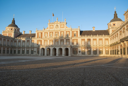 back lighting: West facade of the Palace of Aranjuez