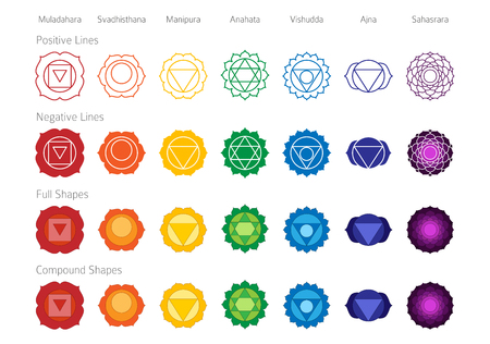 Simple Accurate Chakras Symbol Color Vector Shape Set