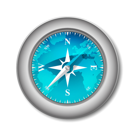worl: Blue Glossy Compass with Wind Rose and World Map Illustration