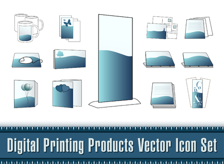 digital printing: Digital Printing Products Vector Icon Set Illustration