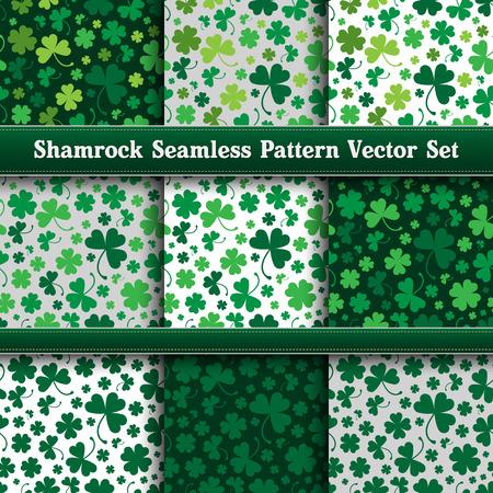shamrock seamless: Saint Patricks Shamrock Seamless Pattern Vector Set