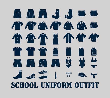 Escuela de vestimenta uniforme vector plana Icon Set