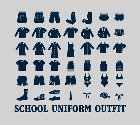 blazer: School Uniform Outfit Vector Flat Icon Set