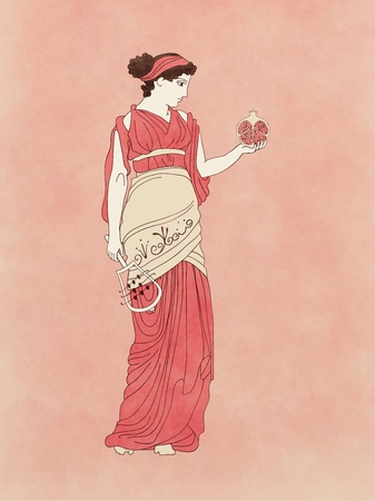 hades: Persephone with pomegranate and sistrum, based on ancient greek pottery and ceramics red-figure drawings