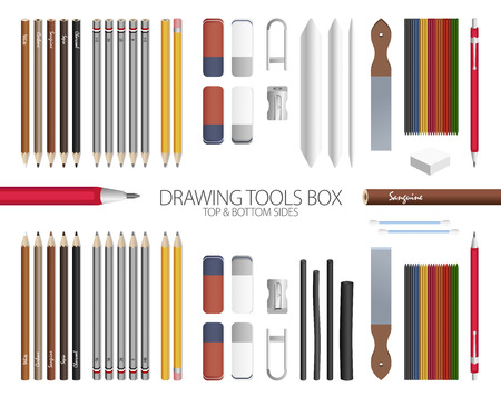 Full Drawing Tools Box Vector Set with top and bottom sides